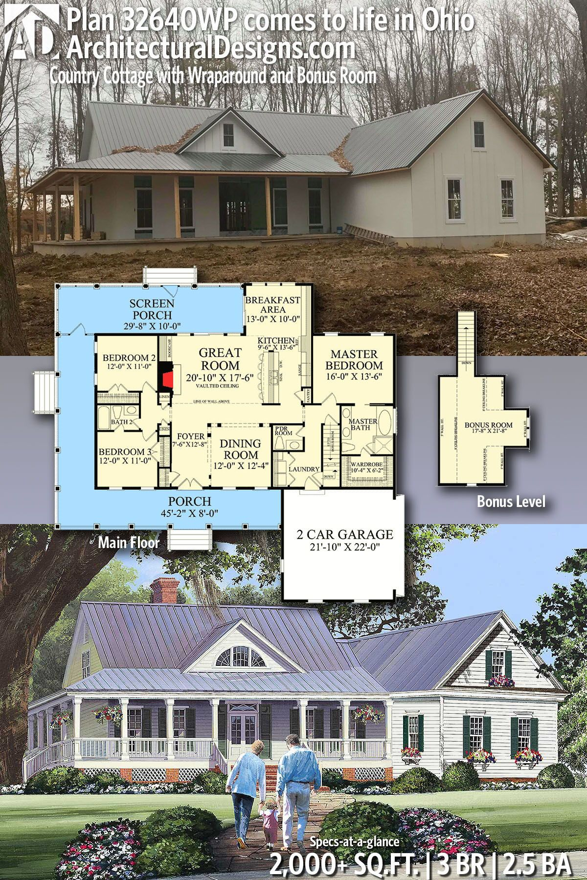 Plan 32640wp Country Cottage With Wraparound And Bonus Room House Plans Farmhouse Country House Plans Dream House Plans