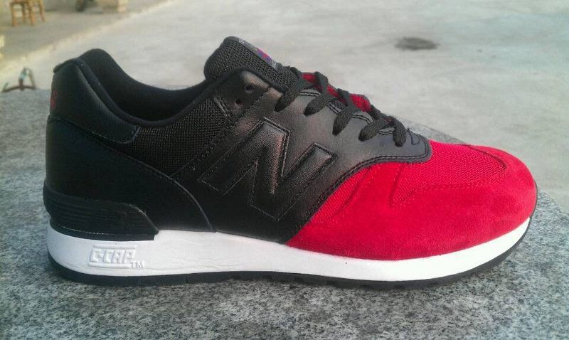 Discount New Balance M670UKRB Red Black Leather Suede Mens NB-670 Sneakers  For Males/