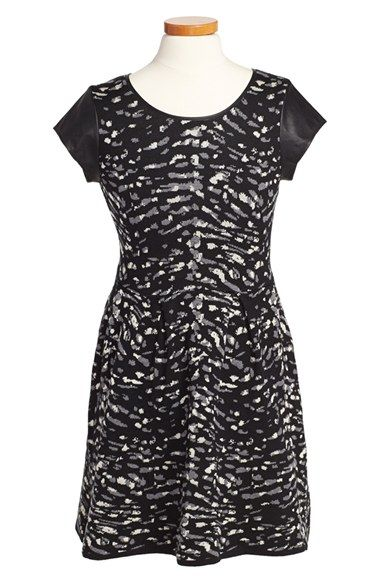 Free shipping and returns on Jessica Simpson  Esther  Print Sweater Dress  (Big Girls) at Nordstrom.com. Faux-leather cap sleeves detail a  sweater-knit dress ... b265c587d85c