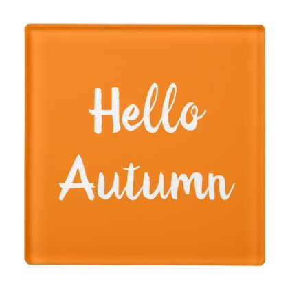 HELLO AUTUMN Glass Coaster | Zazzle.com #helloautumn
