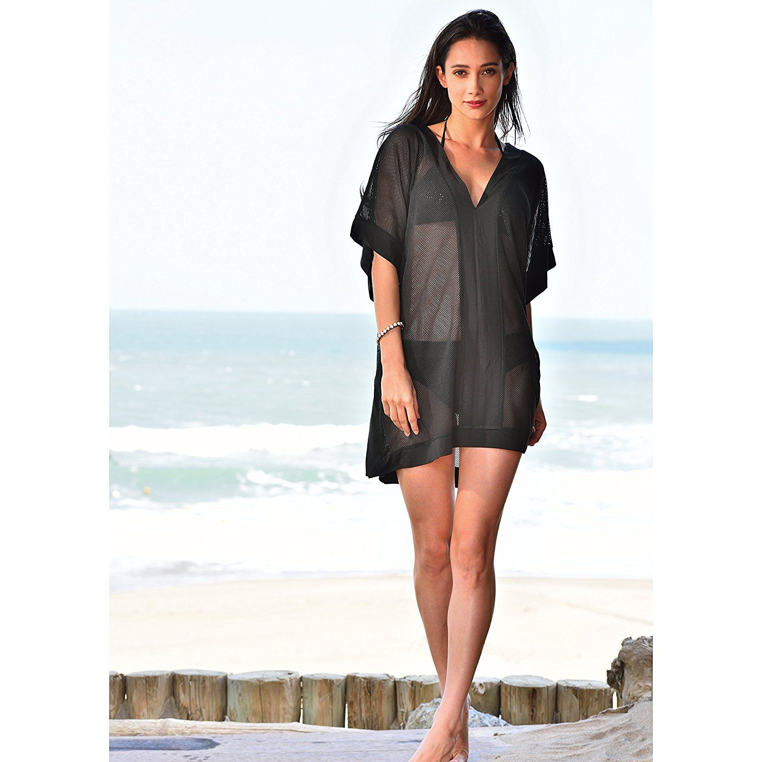 9c339f5e923 MG Collection Plus Size Black Sheer V-Neck Kimono Style Swimsuit Cover Up