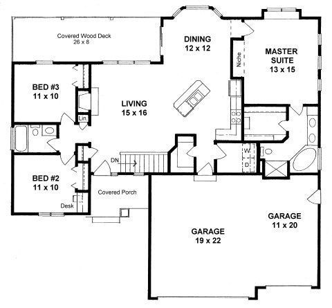 Plan 1418 3 Bed 2 Bath Open Ranch With Three Car Garage For Canadian Winters I Would Conver