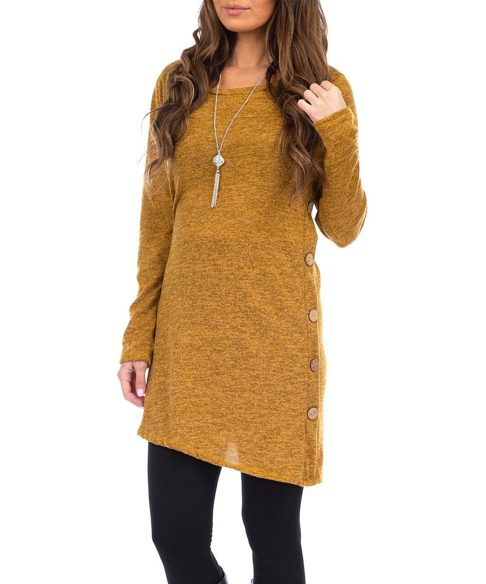 Mustard Side Button Tunic & Necklace