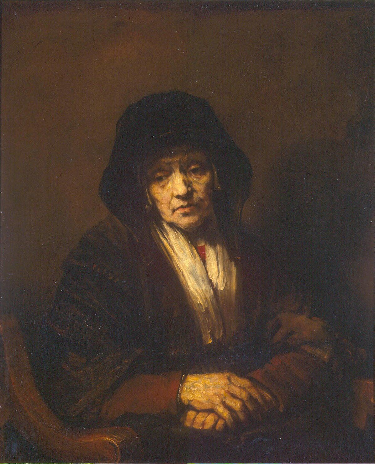 portrait of an old woman painting rembrandt oil