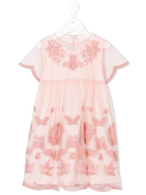 348fc44f7fd9 Gucci Kids embroidered dress   BB clothes ❤   Girls designer ...