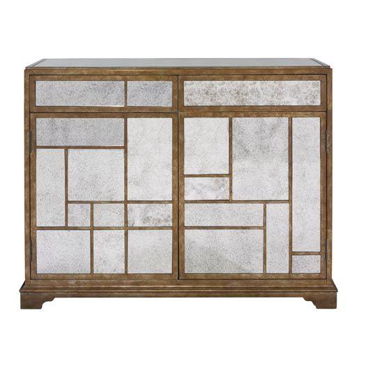Gorgeous Mondrian Styled Antique Mirror Door Chest From