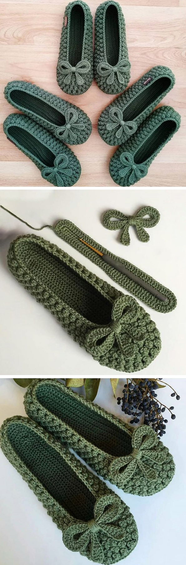 Slippers in Green(Bow) & Red – Crochet Tutorial #crochettutorial