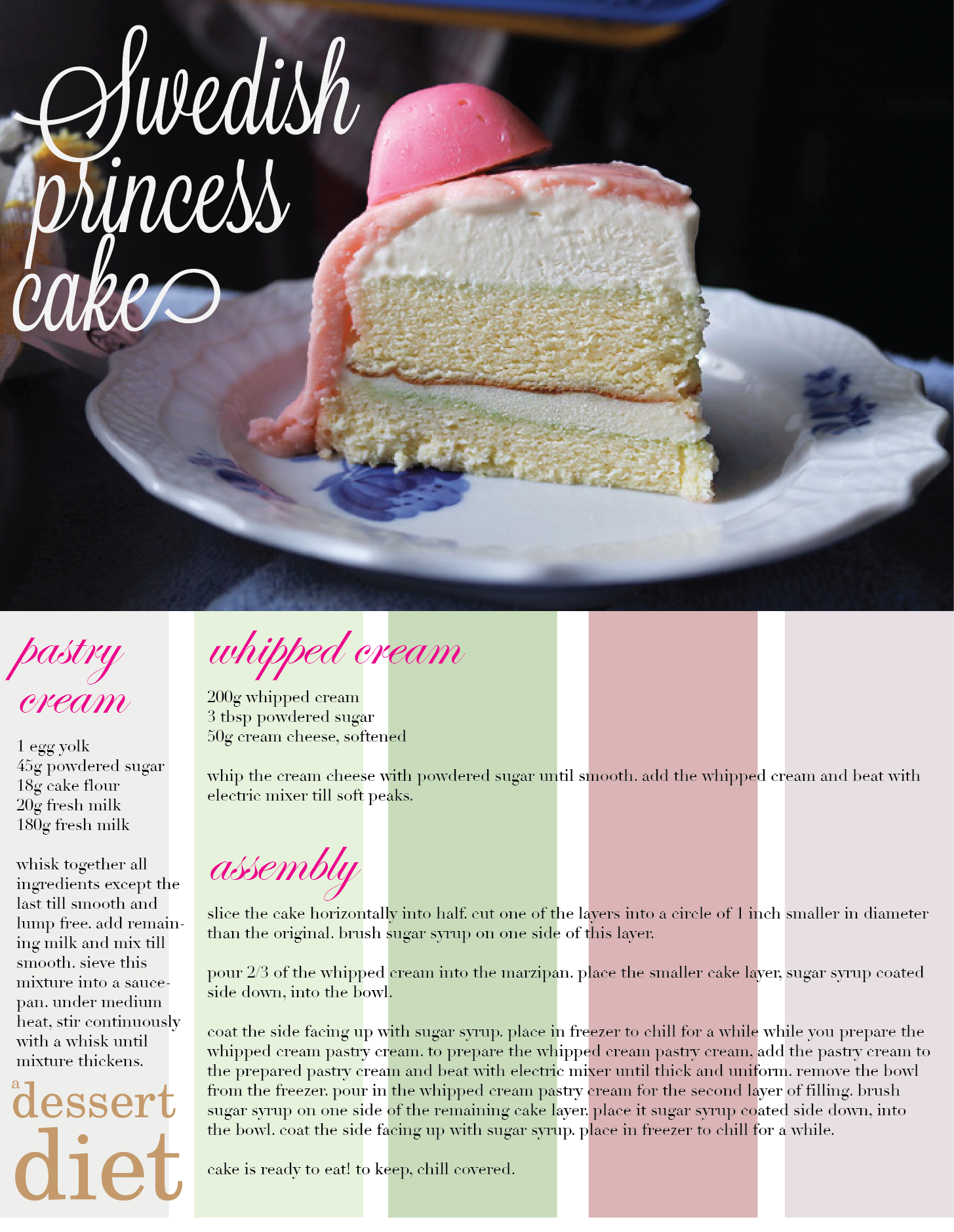 Swedish Princess Cake The Marzipan Cover Is Usually Light Green