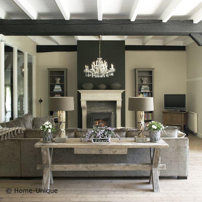 Donkere balken woonkamer pinterest landelijk wonen for Landelijk wonen interieur