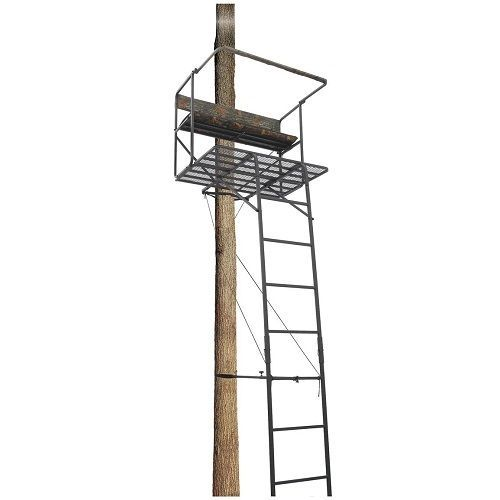 Hunting Ladder Tree Stand 2 Man 17 1 2 Deluxe Padded Backrest Hunting Accessories Clothing Ladder Tree Stands Hunting Ladder
