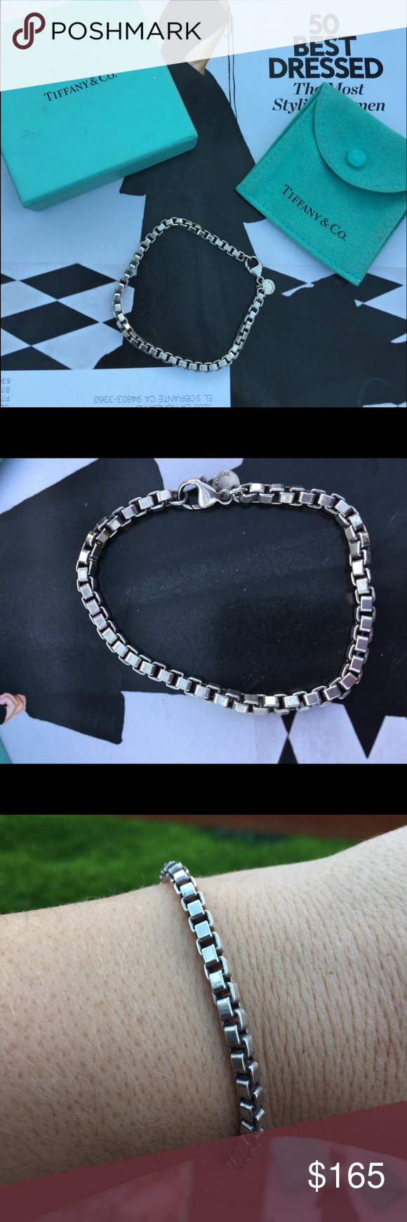 Tiffany and company Venetian bracelet Sterling silver Tiffany & Co Venetian box link bracelet. I have never worn this been in dust bag basically since was purchased. Length 7.5 Authentic I have a dust bag for it but no box. Tiffany & Co. Jewelry Bracelets