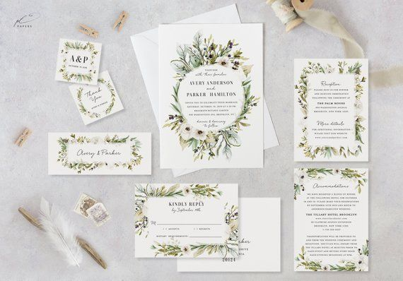Wildflower Wedding Invitation Template Set Printable Rustic