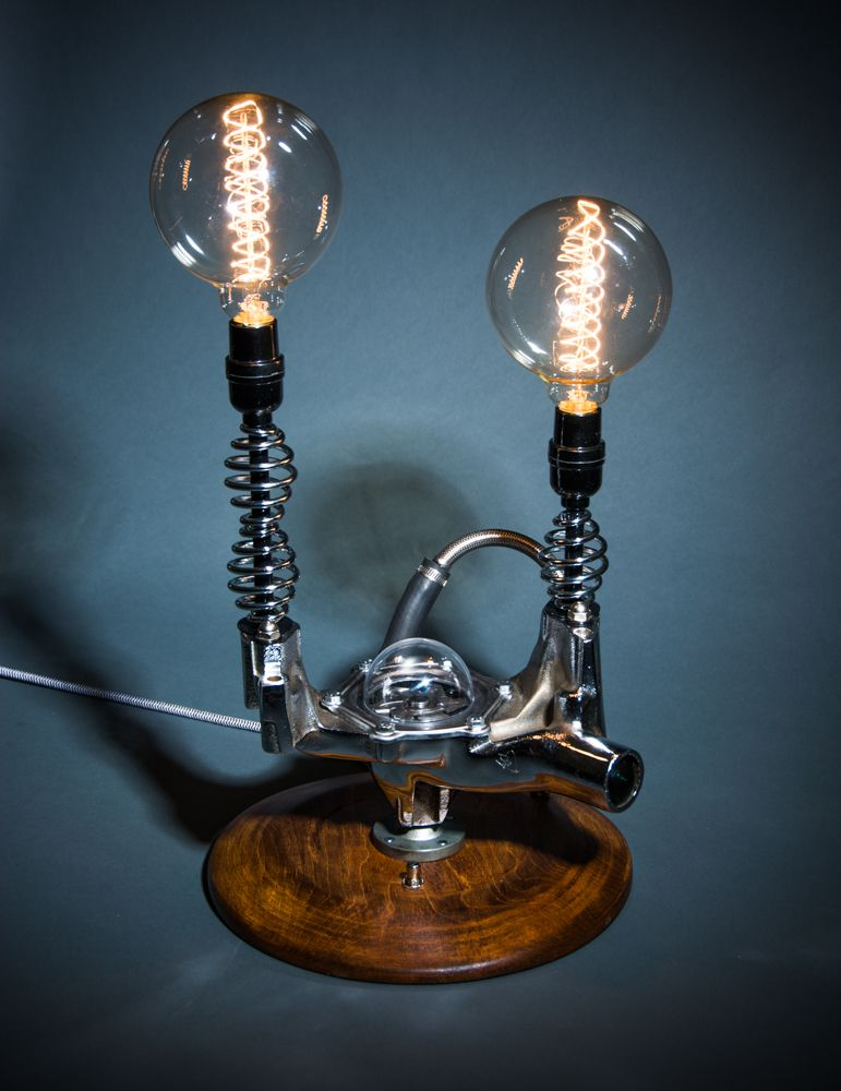 Wild Lamp Made From Vintage Car And Motorcycle Parts