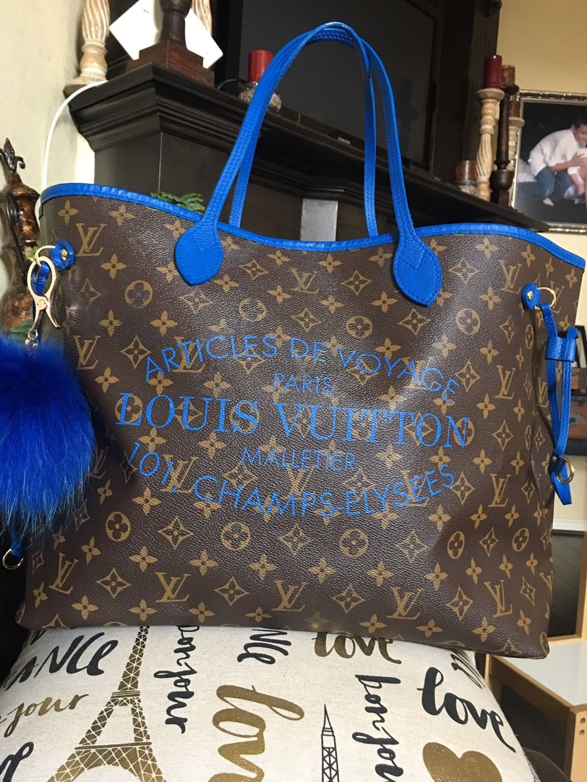 3bd229136a05 Auth Limited Edition Louis Vuitton IKAT Neverfull Gm Grand Bleu Blue