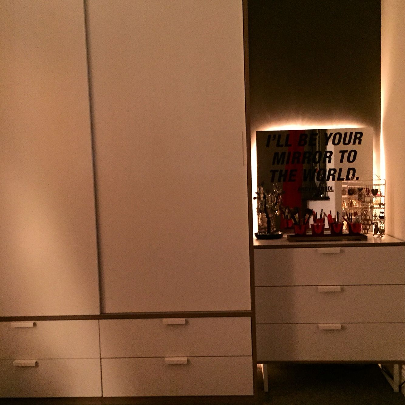Trysil Wardrobe And Dressing Table From IKEA. Andy Warhol Mirror With Back  Lighting