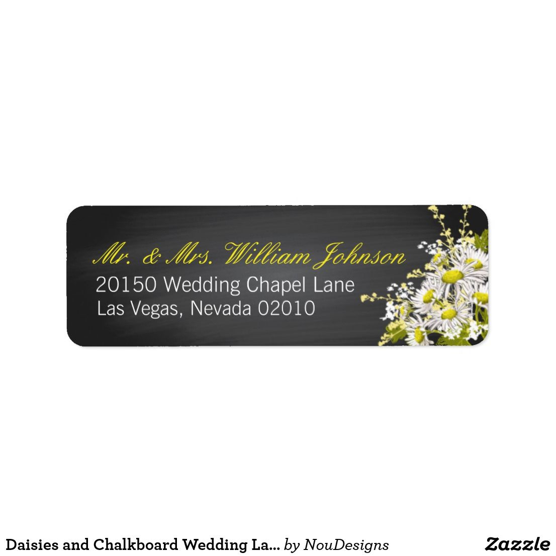 Daisies and Chalkboard Wedding Label Daisy bouquet and chalkboard ...