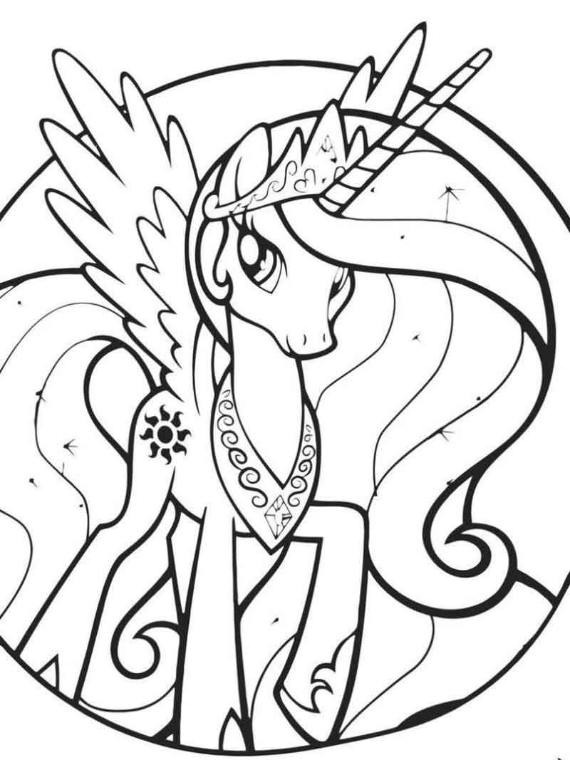 My Little Pony Coloring Page Princess Celestia 768 1024 Di 2020