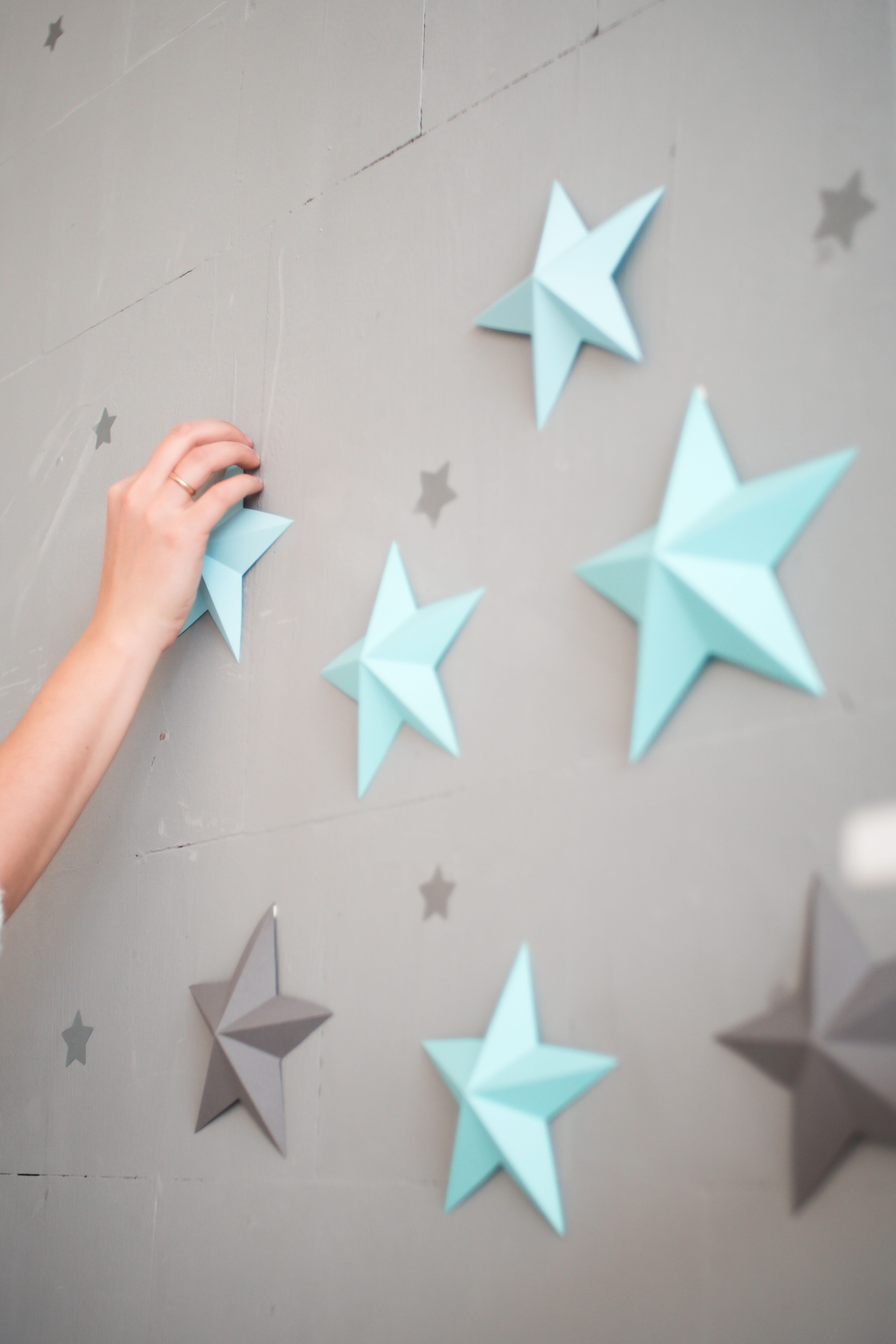 Twinkle Twinkle Little Star 3d Paper Stars Set Nursery Decor For Cute Photos Paper Stars Are Amazing Ide Blue