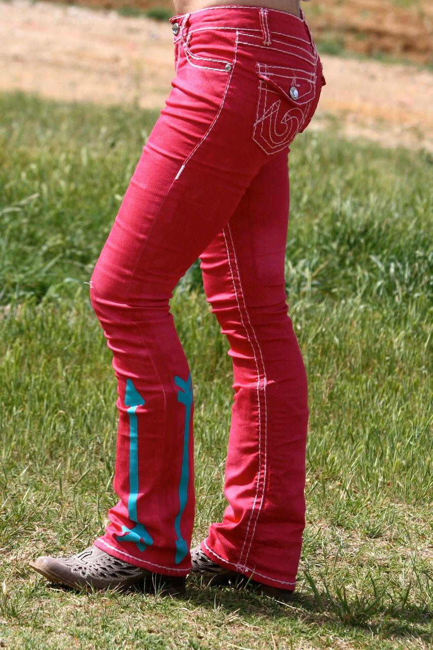 Dynasty Equine - RED JEANS WITH TURQUOISE ARROWS , $55.00 (http://stores.ranchdressn.com/red-jeans-with-turquoise-arrows/)