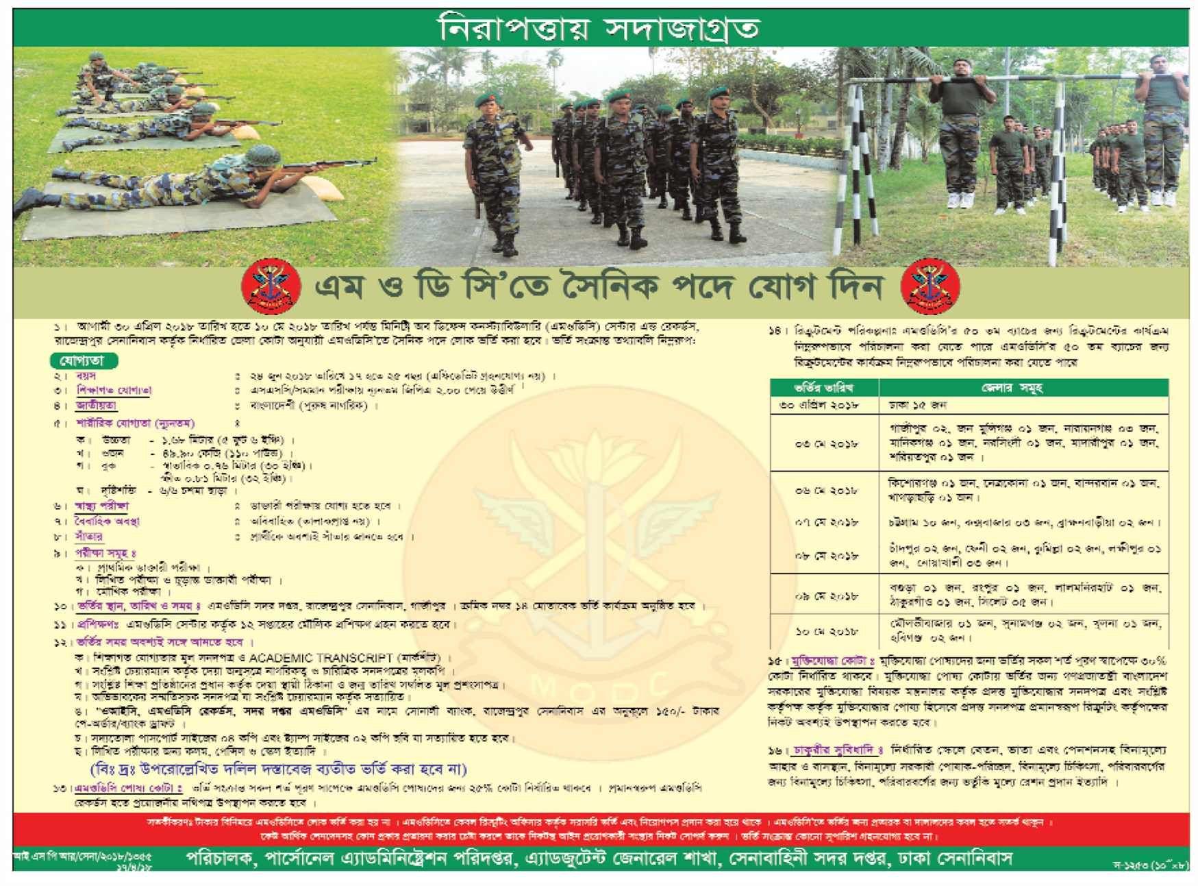 বাংলাদেশ সেনাবাহিনীর নতুন নিয়োগ বিজ্ঞপ্তি প্রকাশ Job