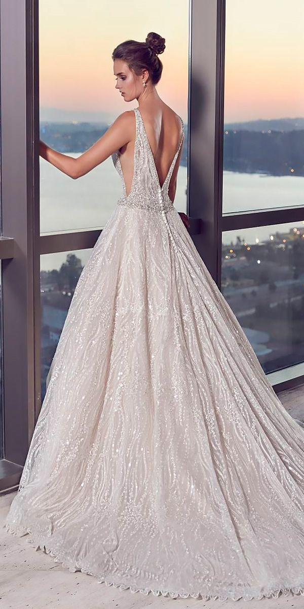 Ball Gown Wedding Dresses Low Back With Straps And Train Eddy K
