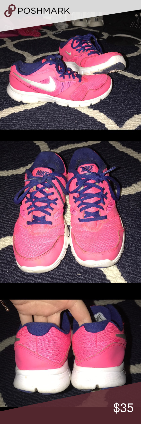 size 40 26e14 8a78b Women s Nike Running Shoes Hot Pink and Navy Blue. Only worn for hikes (so
