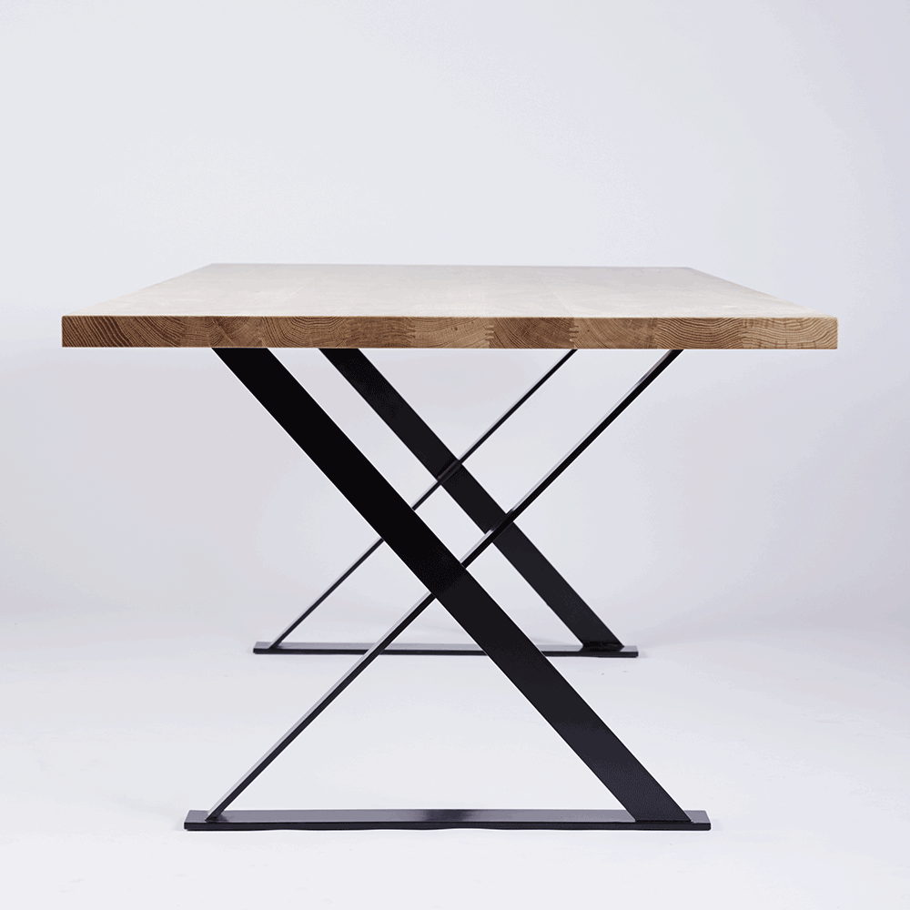 Designer Alexandria Black Steel Dining Table Oak Timber Top