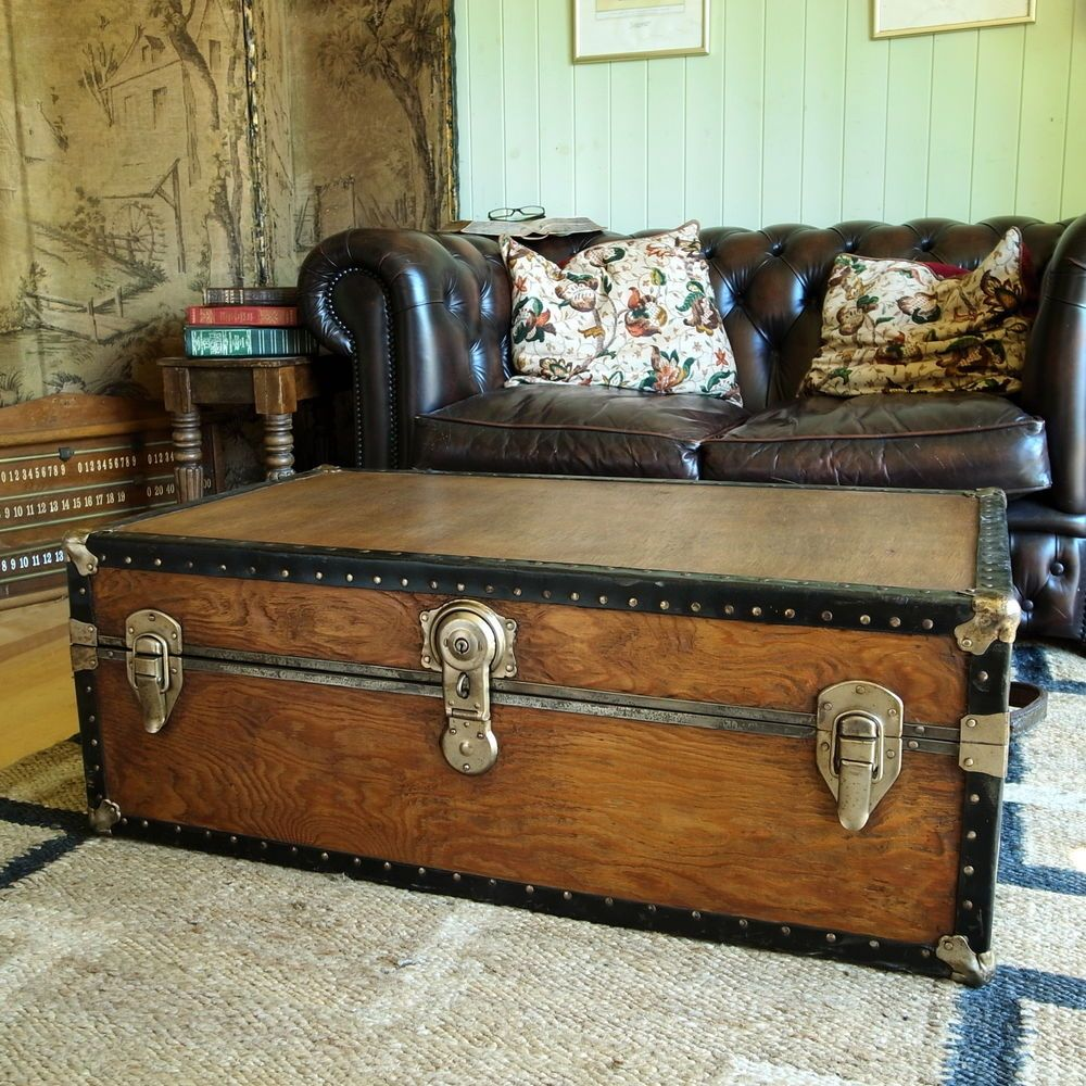 Vintage steamer trunk coffee table storage trunk rustic industrial details about vintage steamer trunk coffee table storage trunk rustic industrial geotapseo Images