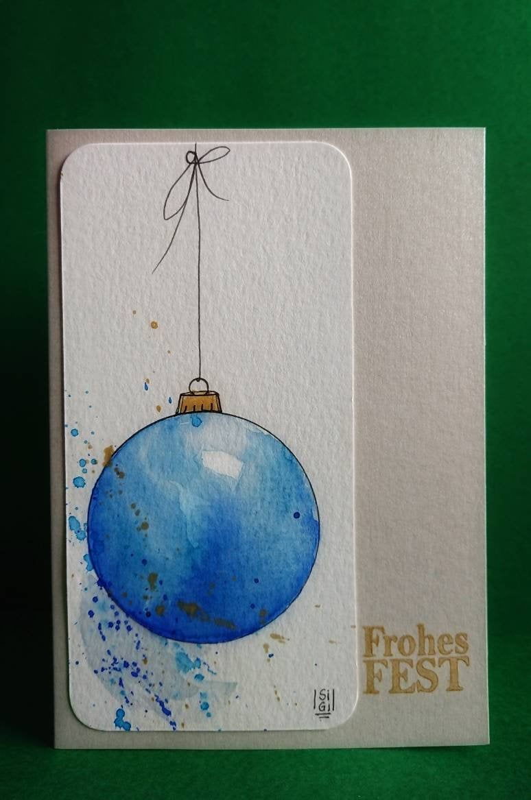 """Christmas Cards Original Watercolor """"Christmas Tree Ball"""" – 2 different variants selectable : blue + purple, NO PRINT – Unique"""