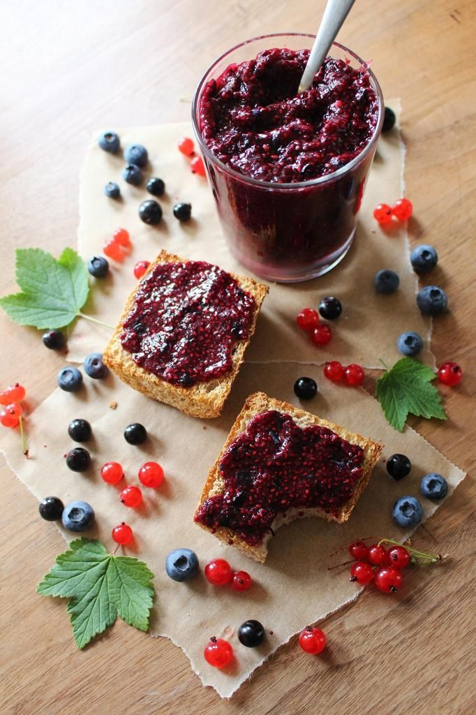 Berry vanilla chia jam. Strict Vegans: replace honey with maple syrup or another alternative sweetener.