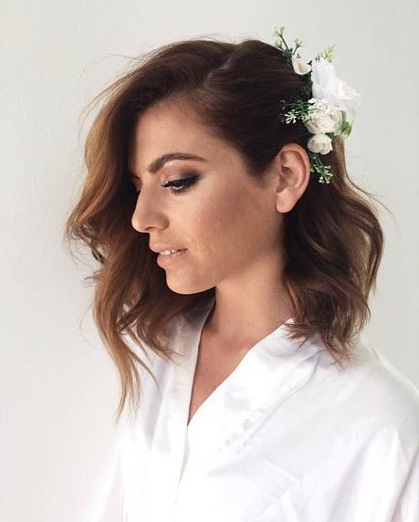 simple wavy long bob hairstyle with flowers medium length wedding hairstyles wedding hairstyles for
