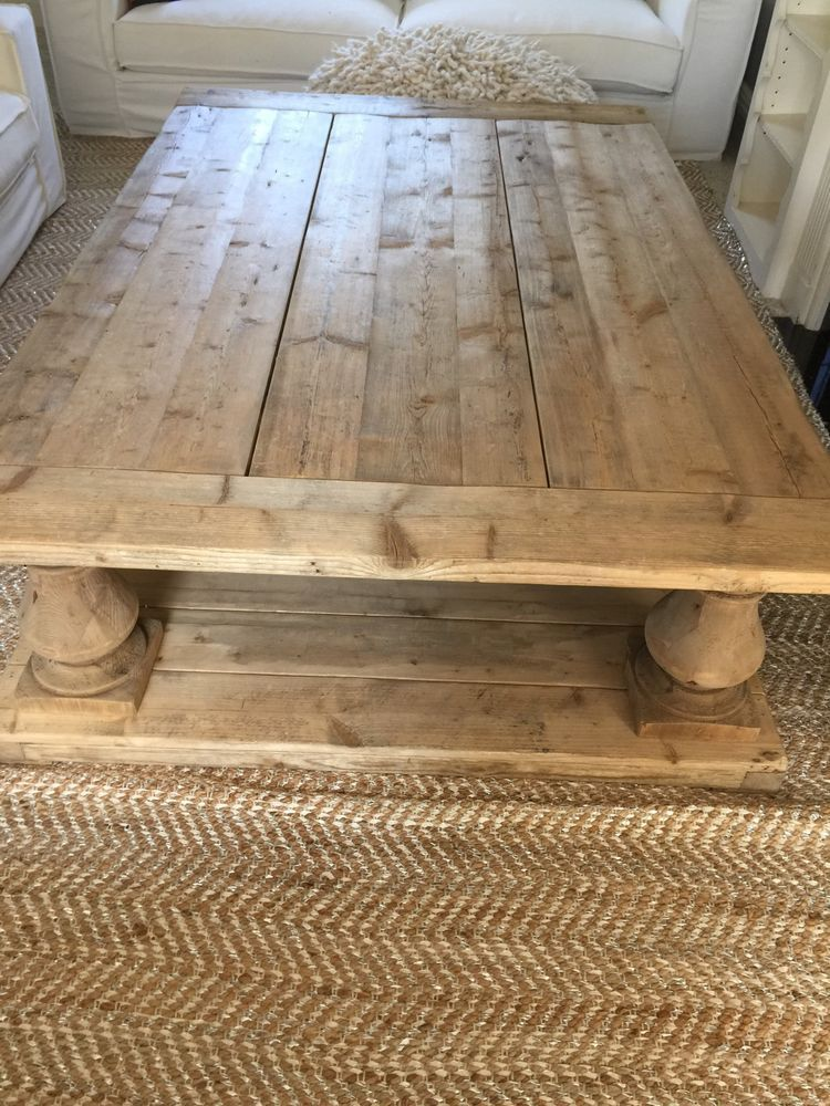Restoration Hardware Balustrade Salvaged Natural Coffee Table