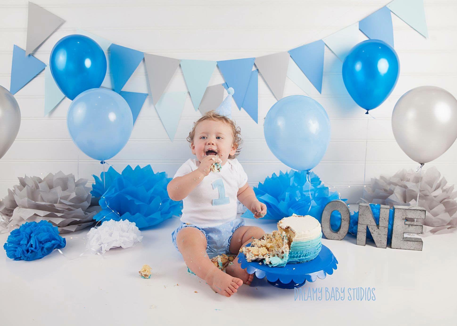 Boy Blue Cake Smash Virginia Beach Newborn First Year Photography Studio Dreamy Baby Studios Baby Cake Smash Cake Smash Blue Cakes