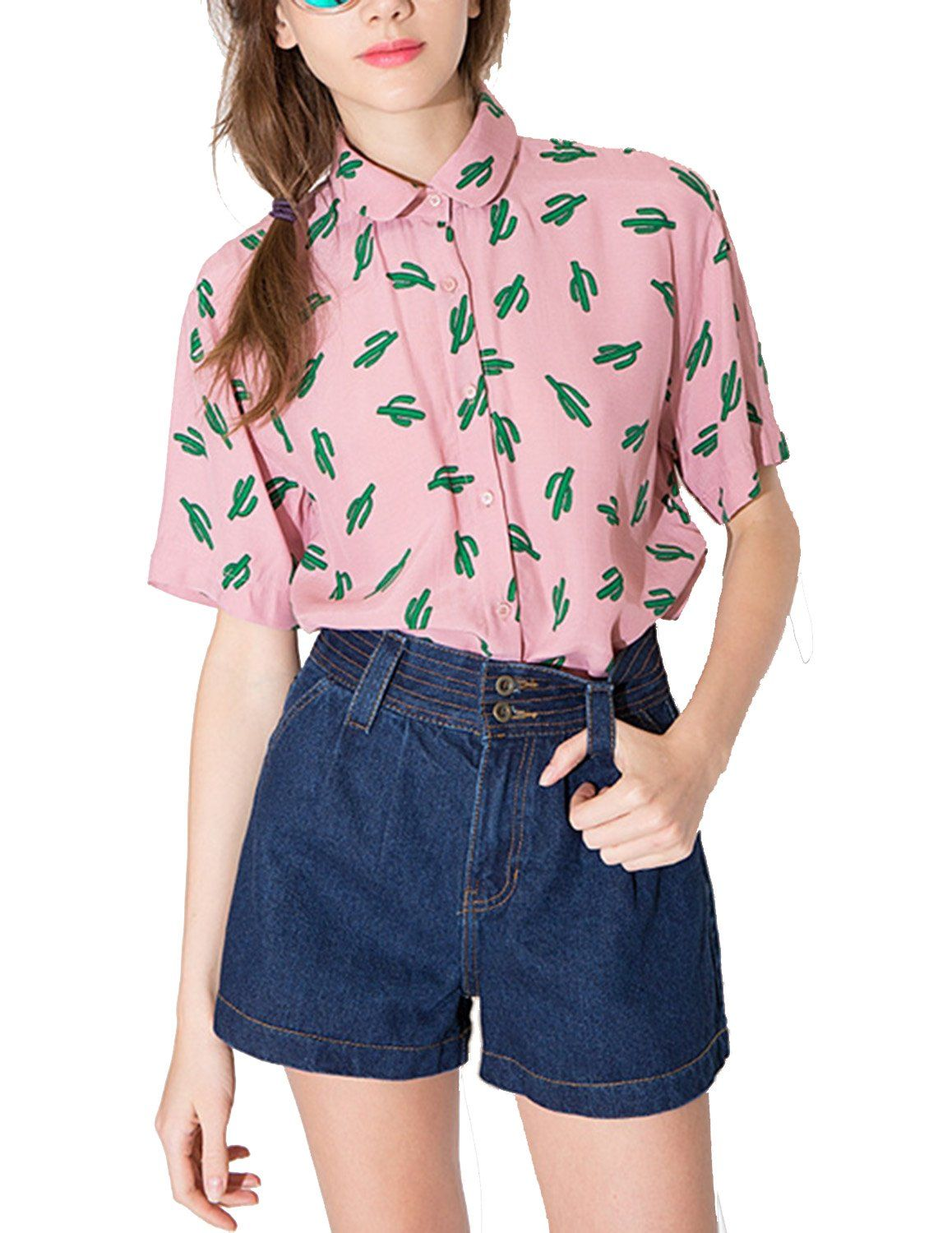 Amazon.com: haoduoyi Womens Sweet Preppy Style Cactus Printed Dollar Collar T-shirt: Clothing