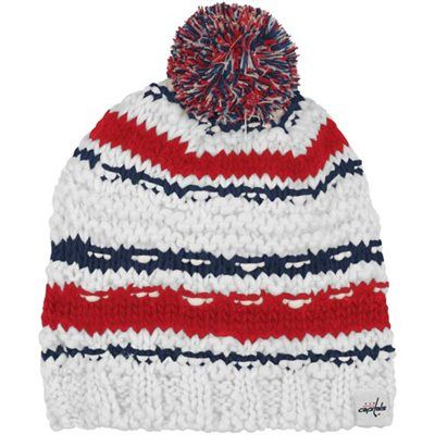 a1e7086137f Reebok Washington Capitals Ladies Crocheted Knit Hat - White Red Navy Blue