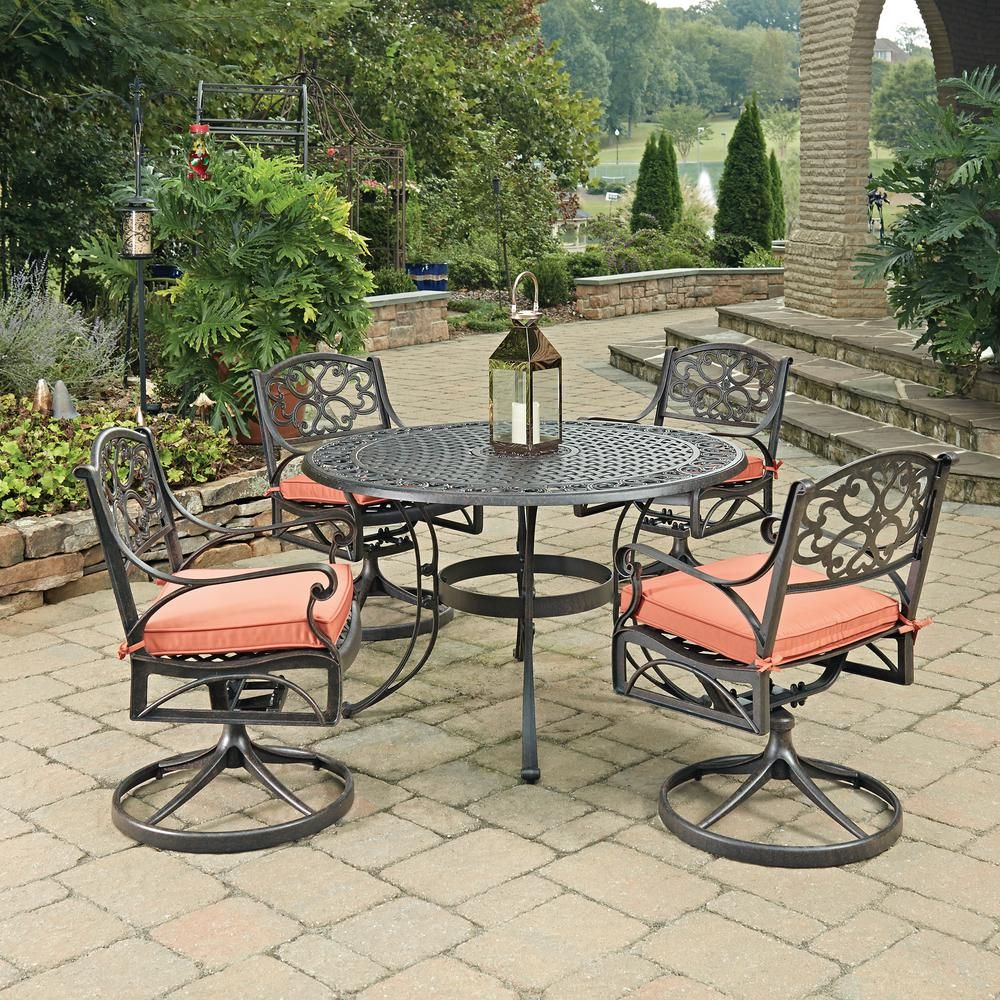 Homestyles Biscayne Rust Bronze 5 Piece Cast Aluminum Outdoor Dining Set With Coral Cushions Outdoor Dining Set Outdoor Dining Patio