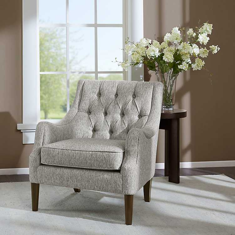 Gray Elle Button Tufted Accent Chair in 2020 Accent