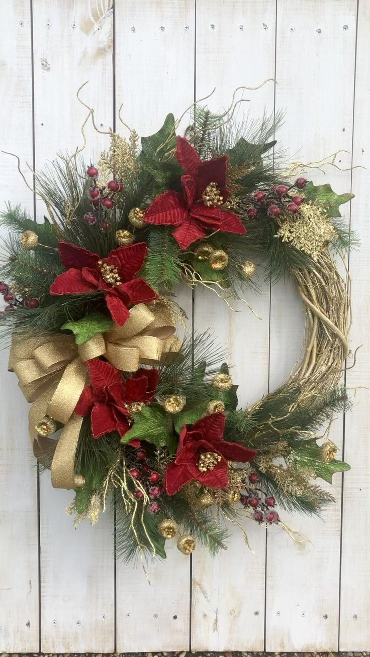 Red and Gold Christmas Holiday Traditional Poinset