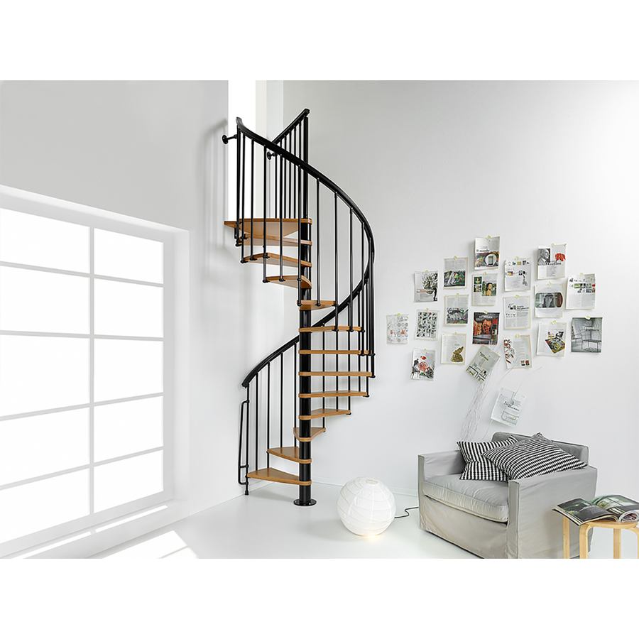 Best Arke Nice1 51 In X 10 Ft Black Spiral Staircase Kit At 640 x 480