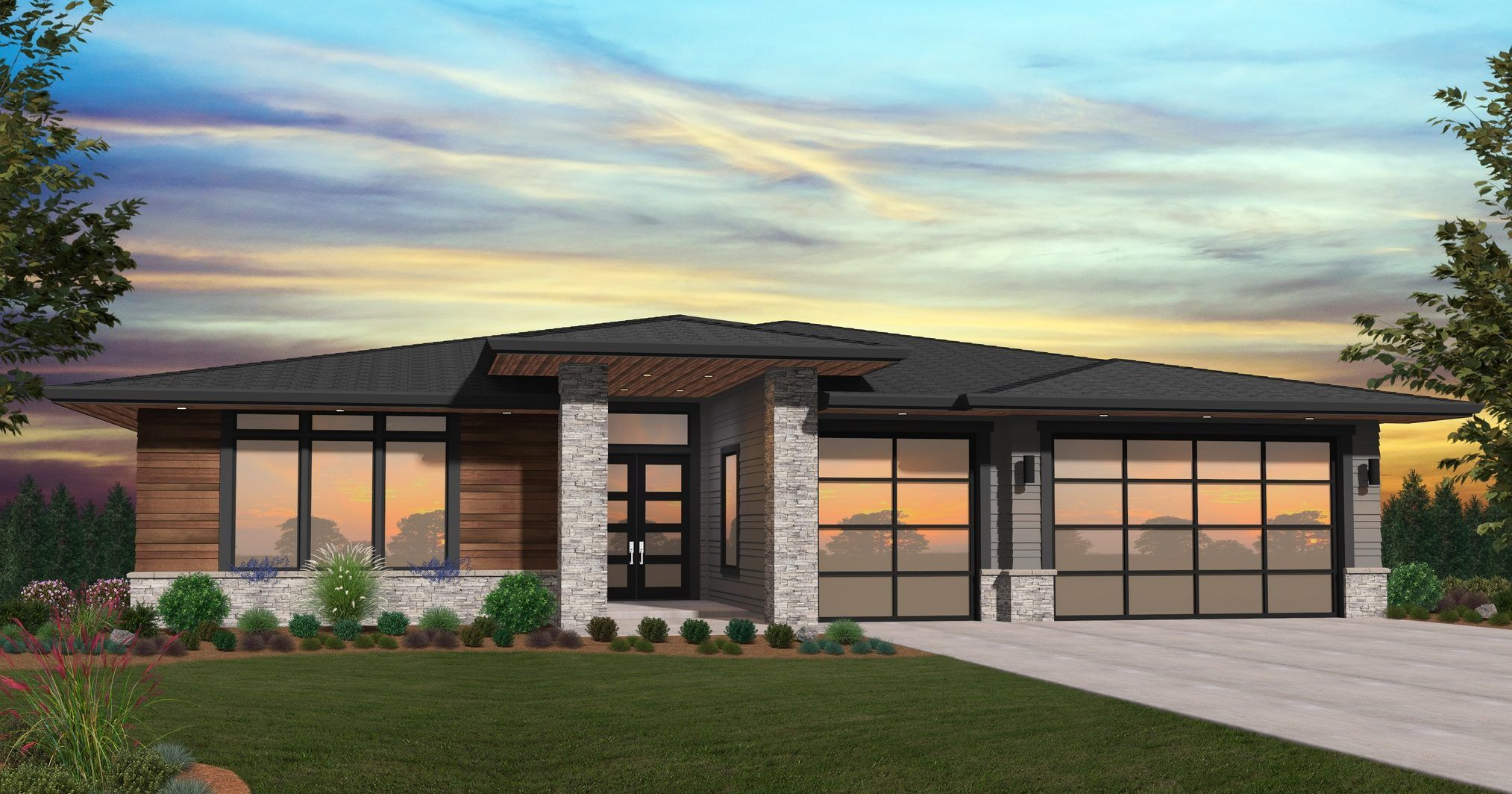 Sunsrise House Plan One Story Modern House Design With Garage Modern Prairie Home Prairie Style Houses Contemporary House Plans