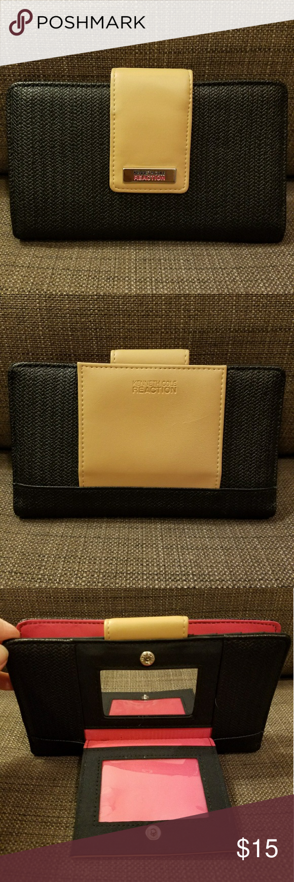 Kenneth Cole Reaction Wallet A great everyday wallet, black, tan, with a bright pink interior.  A separate small wallet section on the back for an ID (I used it for business cards) and a mirror. Kenneth Cole Reaction Bags Wallets