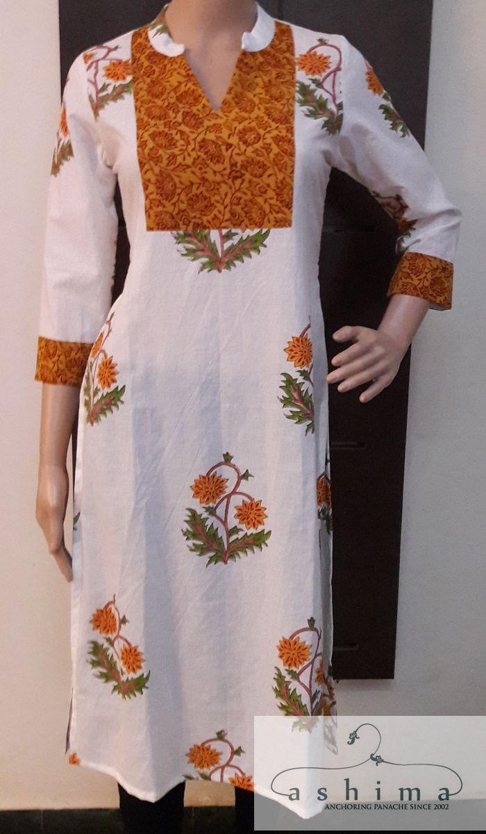 Code printed cotton kurti price inr kurtis