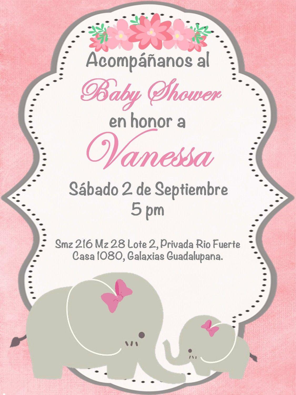 Invitacion Baby Shower Niña Elefante Ducha De Bebé