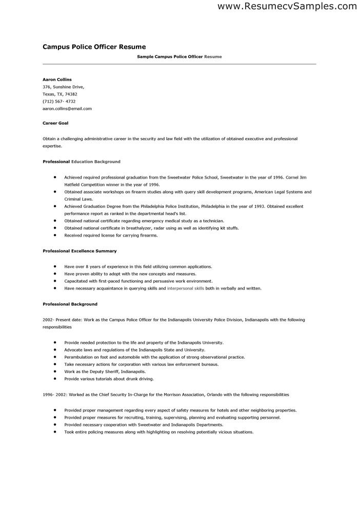 Taser Pulse Black w/Laser Police officer resume, Resume objective
