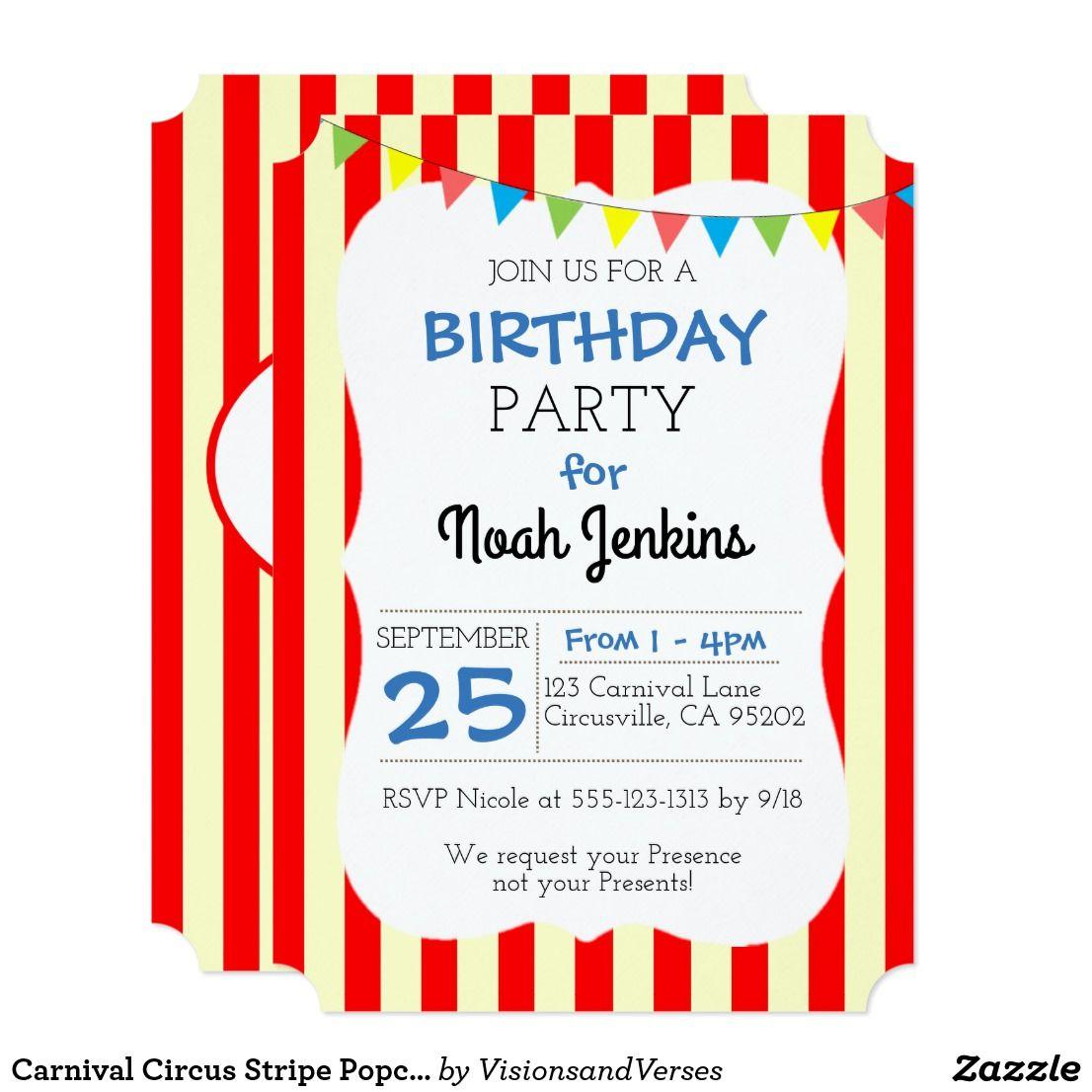 Carnival Circus Stripe Popcorn Party Invitation | Party central