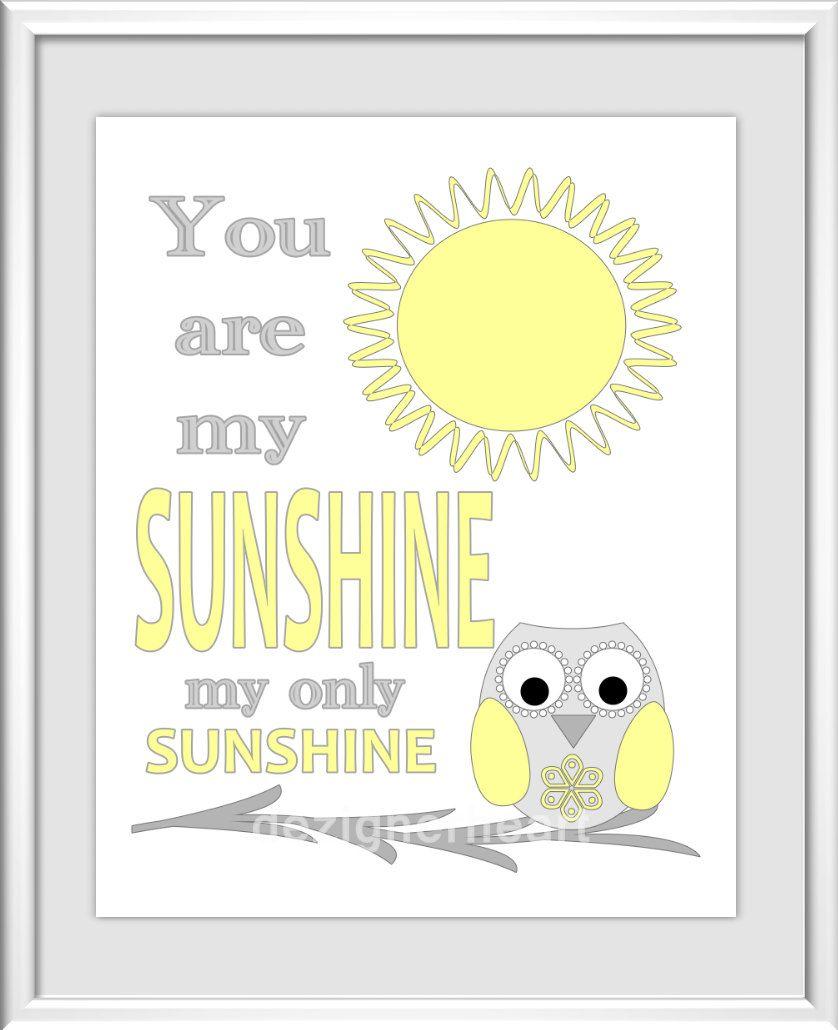 Baby Nursery Wall Art - Digital Art - You Are My Sunshine - Yellow ...
