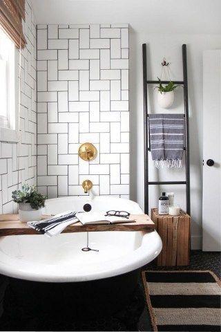 gorgeous black and white subway tiles bathroom design #