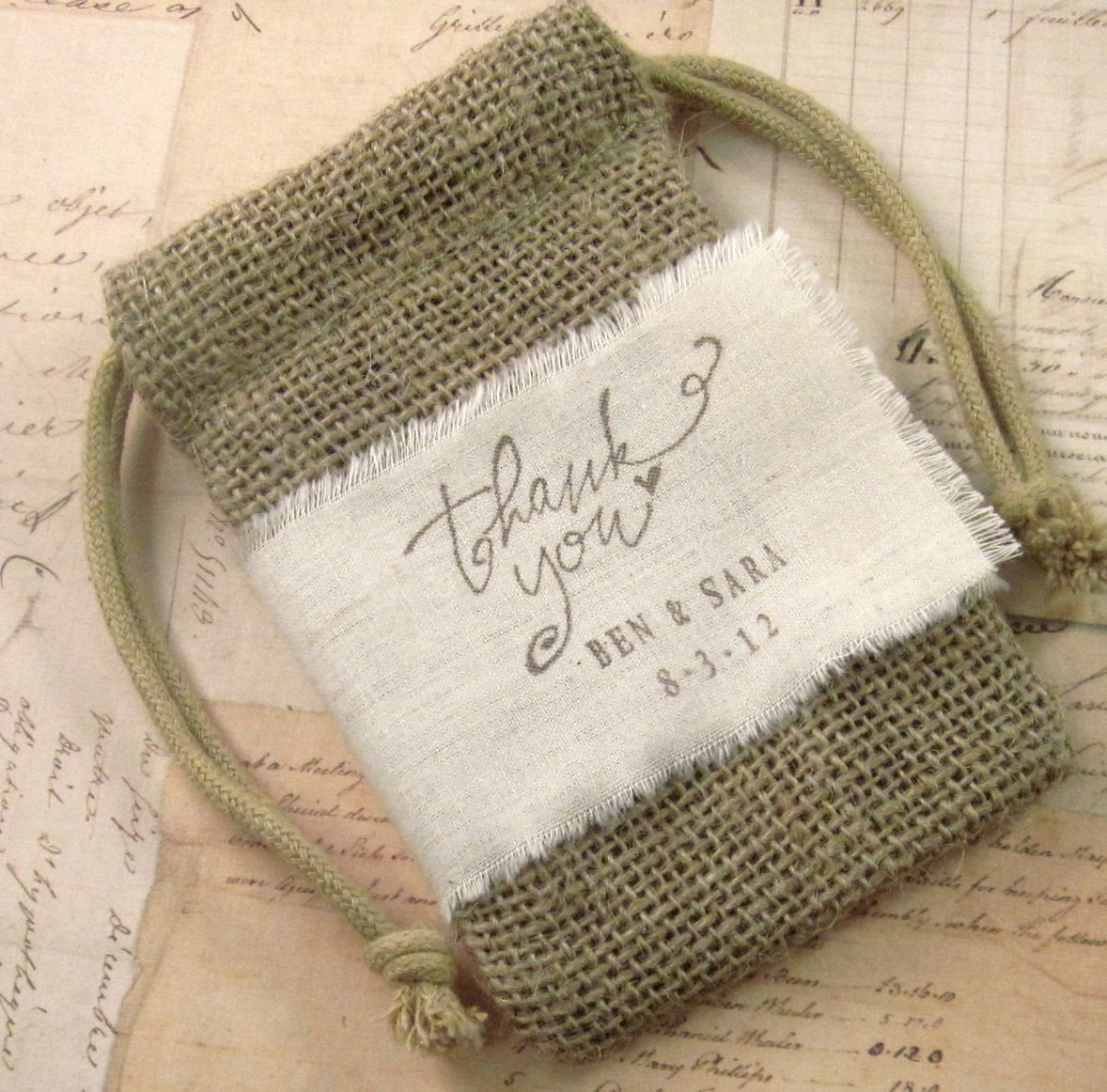10 Burlap Favor Bags - Thank you - with Hand Stamped Muslin Ribbon ...