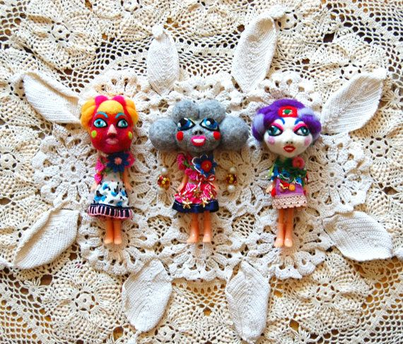 Art doll OOAK doll mixed media doll hand embroidered by Nufar