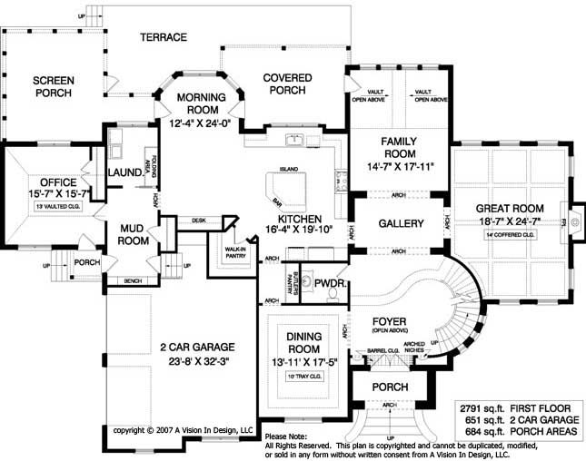 House Plans With Circular Staircase House Plan French Country   Grand Staircase House Plans   Curved Staircase   3 Car Garage   Acadian Home Interior   Single Story   1800 Square Foot